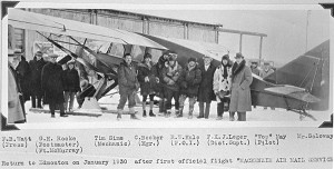 Return to Edmonton on January 1930 after first official flight of the Mackenzie Air Mail Service with Frederick B.