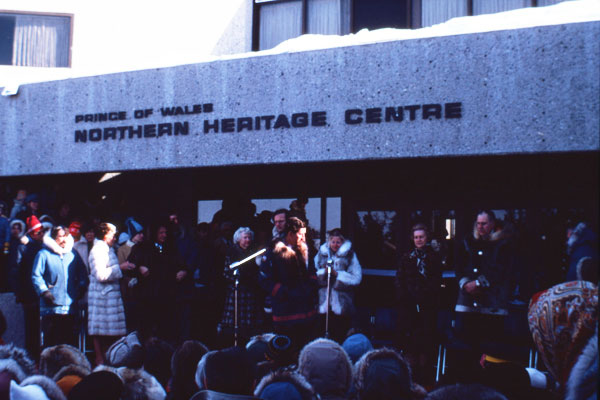 Prince Charles at the inauguration of the Prince of Wales Northern Heritage Centre, 1979. (NWT Archives/Robert R. Janes fonds/N-2003-007: 0002)