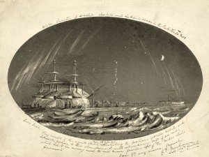 Winter Quarters of the Assistance, Resolute, and Intrepid. Drawn by George Mecham, 1854.