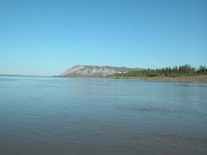 View of Bear Rock from the Mackenzie River.