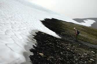 Ice Patch archaeological site showing Glen MacKay examining caribou dung melting from ice margin.