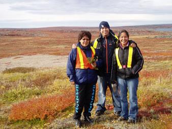 Irene Fatt, Frankie Rabesca and Delphine Enzoe at LeNs-4 near Paul Lake.