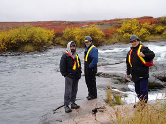 Ashton Hawker, Grant Beck and Ed Jones at LdNv-2 on the Coppermine River.