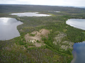 View northeast of existing gravel pit on West Bay; the proposed gravel pit will be located to the north and east of the existing pit.