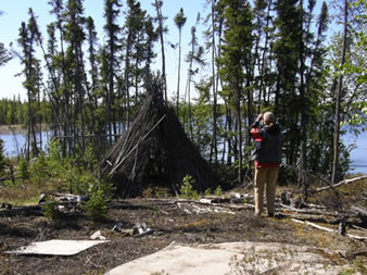 Photographing a brush tipi at Winter Lake.