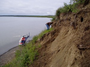 Figure 2: River bank erosion of an ancient Inuvialuit village site.