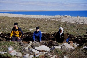 Figure 1. Susan Lofthouse, Christine Iorio and Allen Pogotak excavating midden beside Thule house at Woodward Point.