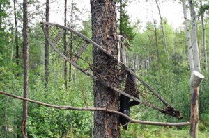 Handmade snowshoe identified at abandoned Traditional Use site adjacent to the proposed development.