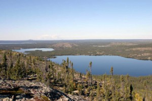 View to the north of Lou and Lion Lakes from the uplands that comprise the Project Area.  Note the bedrock that is typical of the area.