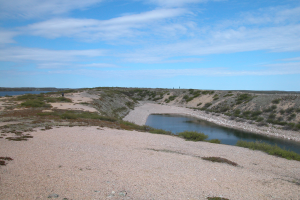 Esker south of Snap Lake, east of archaeological site KjNu-11and west of gravel pit