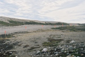 Markers installed along the edge of existing portage near LcNs-133