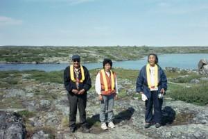Representatives of the Lutsel K'e First Nation at the Lac de Gras-Lac du Sauvage narrows
