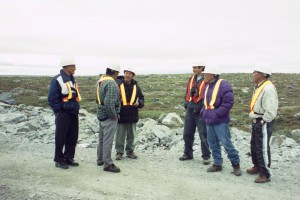 Yellowknives Dene First Nation and Inuit elders and their interpreters at conclusion of archaeology tour