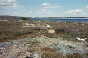 Archaeological site KkNv-6 near a portage on the Snap Lake winter access road