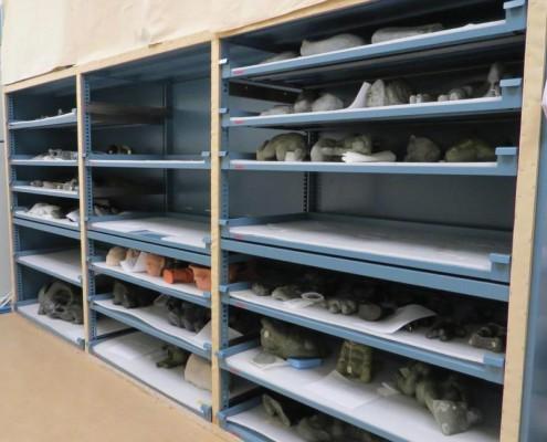 Storage shelves for sculptures